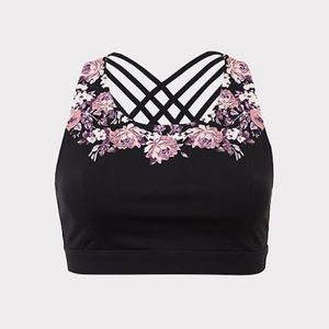 BLACK FLORAL WICKING SPORTS BRA